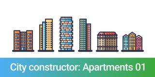 Línea plana del constructor de la ciudad apartamentos