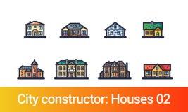 Línea plana del constructor de la ciudad casas