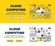 Línea plana diseño de los iconos de la COMPUTACIÓN y de elementos de la NUBE libre illustration