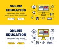 Línea plana diseño de los iconos de la EDUCACIÓN y de los elementos EN LÍNEA stock de ilustración