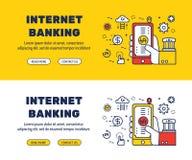 Línea plana diseño de los iconos de las ACTIVIDADES BANCARIAS y de los elementos de INTERNET libre illustration