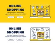 Línea plana diseño de los iconos de las COMPRAS y de los elementos EN LÍNEA stock de ilustración