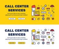 Línea plana diseño de los iconos de los SERVICIOS y de los elementos del CENTRO DE ATENCIÓN TELEFÓNICA stock de ilustración