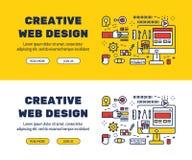 Línea plana diseño de los iconos del DISEÑO WEB y de los elementos CREATIVOS ilustración del vector