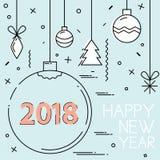 Línea plana diseño del Año Nuevo 2018 y de la Navidad Foto de archivo