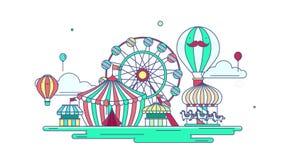 Línea plana diseño gráfico del parque de atracciones de la animación o del parque temático en fondo creativo de la bandera de la  stock de ilustración