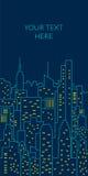 Línea plana ejemplo del paisaje urbano de la noche modelo stock de ilustración