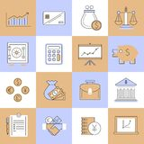 Línea plana fijada iconos de las finanzas Foto de archivo libre de regalías