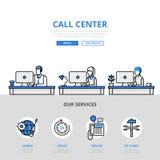 Línea plana icono de la bandera de la oficina de la ayuda del usuario del centro de atención telefónica del vector del arte Foto de archivo libre de regalías