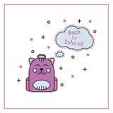 Línea plana icono de la mochila linda del gatito Foto de archivo libre de regalías