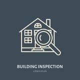 Línea plana icono del vector de la inspección de la casa Insignia de las propiedades inmobiliarias Ejemplo del edificio debajo de stock de ilustración