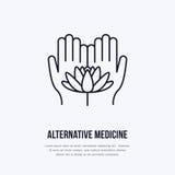 Línea plana icono, logotipo de la medicina alternativa Vector el ejemplo de lotos florecen en las manos para el tratamiento tradi