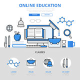 Línea plana iconos de educación del curso del concepto en línea de la biblioteca del vector del arte Foto de archivo