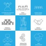 Línea plana iconos de gestión de las finanzas, ventas, servicio - conce Foto de archivo libre de regalías