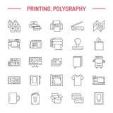 Línea plana iconos de la casa de impresión Equipo de la imprenta - impresora, escáner, máquina compensada, trazador, folleto, sel stock de ilustración