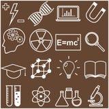 Línea plana iconos de la ciencia y de la educación Vector Fotos de archivo libres de regalías