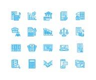 Línea plana iconos de la contabilidad financiera Contabilidad, optimización del impuesto, empresa, externalización del contable,  Imágenes de archivo libres de regalías
