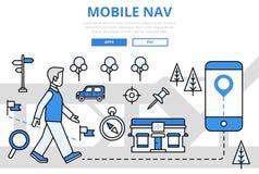 Línea plana iconos de la navegación del concepto móvil de GPS del vector del arte libre illustration