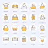 Línea plana iconos de los bolsos de las mujeres Los bolsos mecanografían - crossbody, mochilas, embrague, totalizadores, hobo, ca stock de ilustración