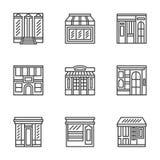 Línea plana iconos de los frentes de la tienda y del café stock de ilustración