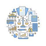 Línea plana iconos del cartel del círculo de la contabilidad financiera Concepto del folleto de la contabilidad, optimización del libre illustration
