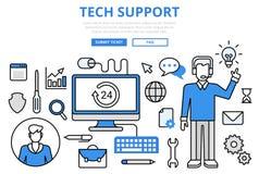 Línea plana iconos del concepto del soporte técnico del cliente del vector del arte Fotografía de archivo libre de regalías