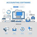 Línea plana iconos del concepto del uso del app de los programas informáticos de contabilidad del vector del arte ilustración del vector