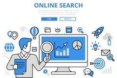 Línea plana iconos del concepto en línea de los resultados de búsqueda SEO del vector del arte stock de ilustración