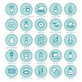 Línea plana iconos del cuidado de la belleza del maquillaje Ejemplos de los cosméticos del lápiz labial, rimel, polvo, sombreador stock de ilustración