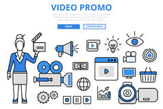 Línea plana iconos del promo del concepto digital video del márketing del vector del arte