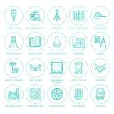 Línea plana iconos del vector de la ingeniería de la encuesta geodésica Equipo de la geodesia, tacheometer, teodolito, trípode ge libre illustration
