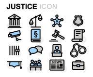 Línea plana iconos del vector de la justicia fijados Imagen de archivo libre de regalías