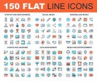 Línea plana iconos del web