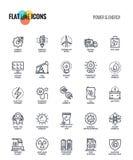 Línea plana iconos diseño-poder y energía Fotos de archivo libres de regalías