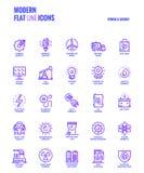 Línea plana iconos diseño-poder y energía de la pendiente Imagen de archivo libre de regalías
