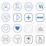Línea plana iconos para el vector de los iconos del web y de los iconos de Internet Imagen de archivo