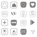 Línea plana iconos para el vector de los iconos del web y de los iconos de Internet Imágenes de archivo libres de regalías
