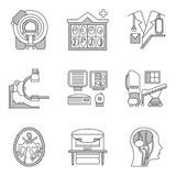 Línea plana iconos para la exploración del CT MRI Imagen de archivo libre de regalías