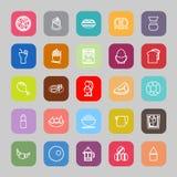 Línea plana iconos planos de la comida fácil stock de ilustración