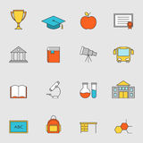 Línea plana iconos vol. 3 de la educación escolar Fotos de archivo libres de regalías