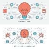 Línea plana idea e inversión del negocio Ilustración del vector Iconos lineares finos modernos del vector del movimiento stock de ilustración
