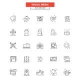 Línea plana medio del Social de los iconos Fotos de archivo libres de regalías