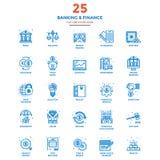 Línea plana moderna actividad bancaria y finanzas de los iconos del color libre illustration