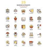 Línea plana moderna actividad bancaria y finanzas de los iconos del color stock de ilustración
