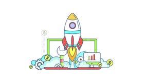 Línea plana negocio de la animación y diseño gráfico de la inversión del inicio en muestra del negocio creativo e icono financier libre illustration