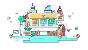 Línea plana negocio de la animación y diseño gráfico de la tecnología del flujo de trabajo en muestra del negocio creativo y fond stock de ilustración