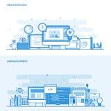 Línea plana proceso y desarrollo web creativos del concepto del color libre illustration