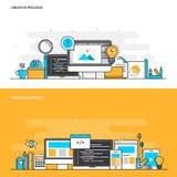 Línea plana proceso y desarrollo web creativos del concepto del color ilustración del vector