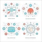 Línea plana Search Engine, inversión, conceptos del negocio de la protección del trato stock de ilustración
