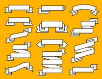 Línea plana sistema de la cinta del vector Colección de diversas banderas de la cinta El vintage diseñó cintas y la plantilla de  Foto de archivo